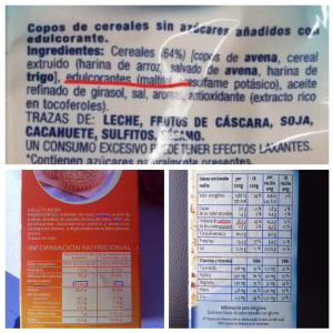 Ingredientes de tres productos: Con y sin azúcar añadido.